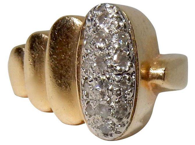 Bijoux Autre Marque Chevalière en or et diamants Or jaune,Or Doré ref.157774