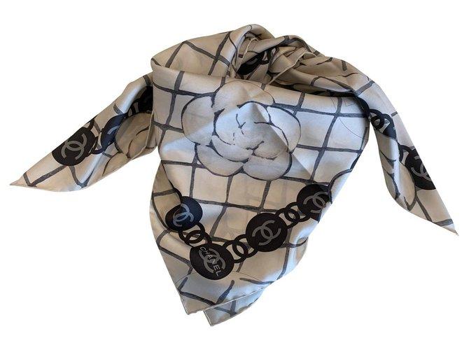 Chanel Chanel scarf Scarves Silk Eggshell ref.157852