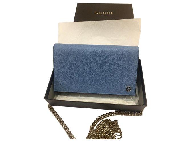 Gucci Chaîne de portefeuille Cuir Bleu  ref.158042