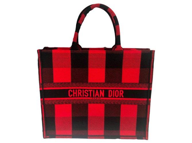 Dior DIOR BOOK TOTE Handbags Cotton Red ref.158047