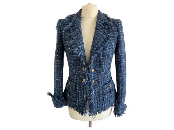 Vestes Luisa Spagnoli Veste bleu en lainage Laine Bleu ref.158114