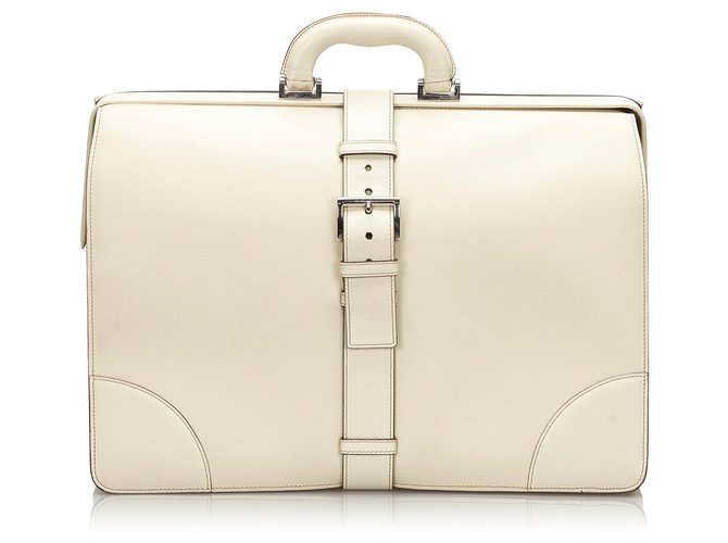 Prada Prada White Saffiano Leather Business Bag Misc Leather,Other White ref.158148