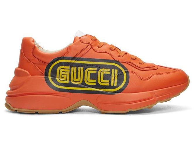 Gucci Gucci Orange Logo Rhyton Sneakers