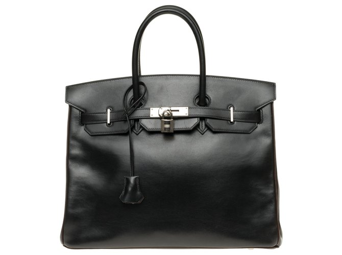 Hermès HERMES BIRKIN 35 Special order in two-tone leather box black and brown, hardware hardware silver palladium! Handbags Leather Brown,Black ref.158311
