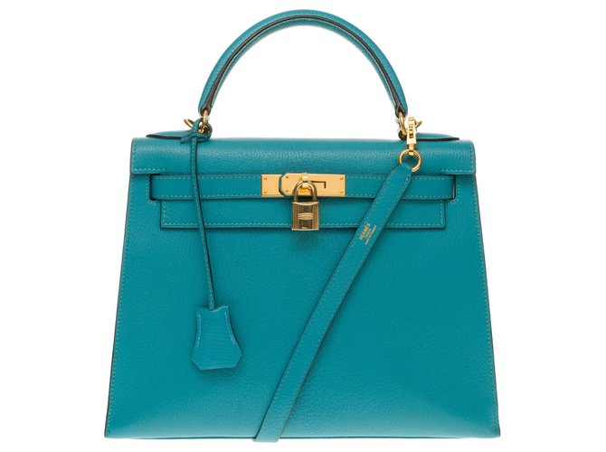 Hermès Hermès Kelly saddler 28 cm Turquoise goat leather shoulder strap, gold-plated trim Handbags Leather Turquoise ref.158371