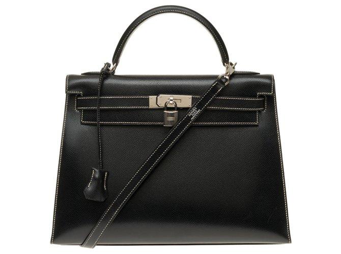 Hermès Hermès Kelly saddler 32 cm epsom black leather strap with white stitching, Palladium metal hardware Handbags Leather Black,White ref.158372