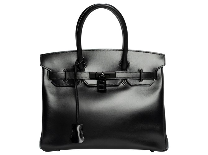 "Hermès Rare Hermes Birkin 30 ""SO BLACK"" in excellent condition and full set Handbags Leather Black ref.158389"