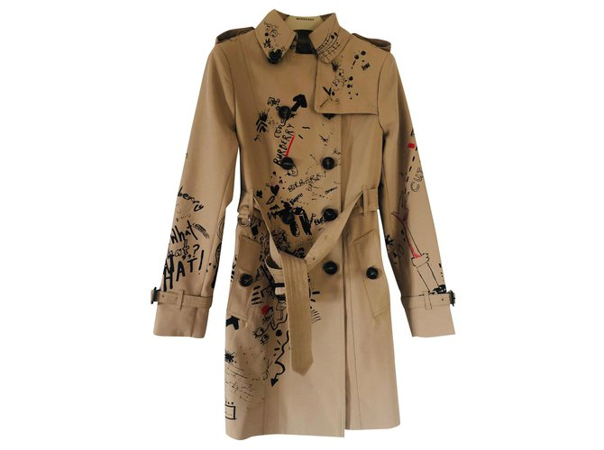 Burberry trench coat Burberry the Sandringham small doodle print 2019 Trench coats Cotton Caramel ref.158421
