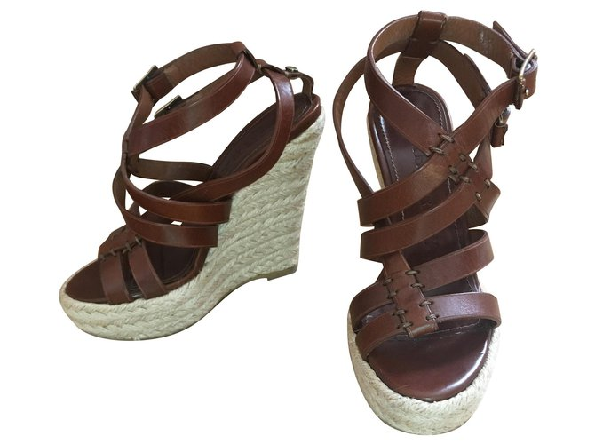 Burberry SPARTIATES SANDALS Burberry Sandals Leather,Straw Brown,Beige,Light brown,Dark brown ref.158538