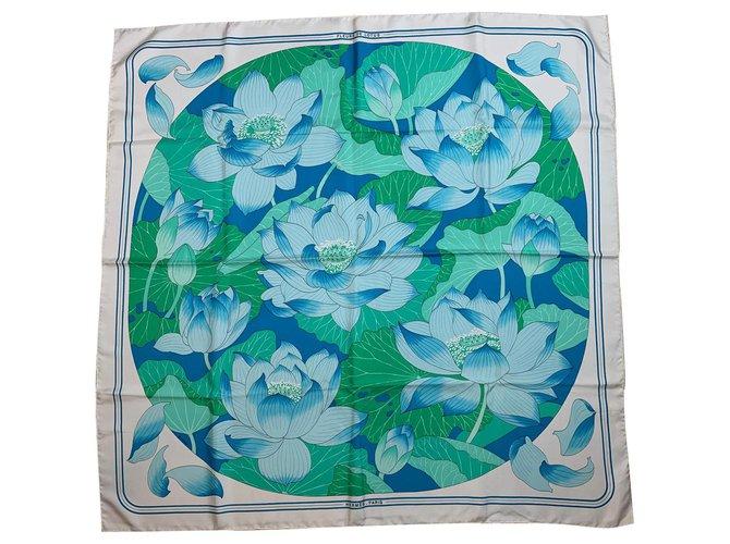 Hermès Lotus flowers Silk scarves Silk White ref.158618