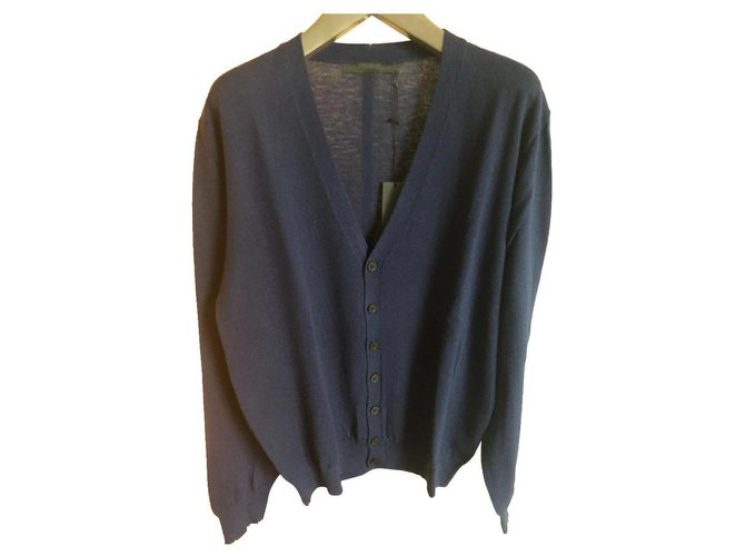 Karl Lagerfeld KARL LAGERFELD NEW MEN'S CARDIGAN Sweaters Wool Blue ref.158660