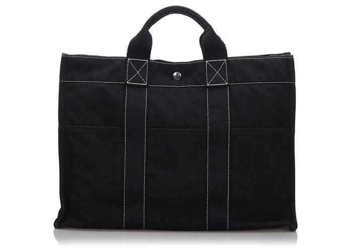Cabas Hermès Hermes Black cabas MM Toile,Tissu Noir ref.158820
