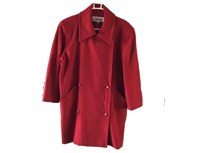 Chloé Chloe lined Breasted Wool Coat Coats, Outerwear Wool Red ref.158887