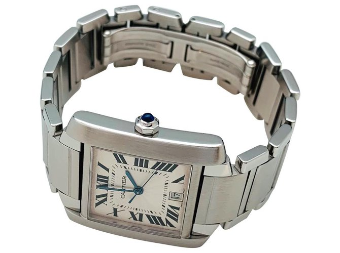 "Cartier Cartier ""Tank Française"" watch in steel on steel. Fine watches Steel Other ref.158918"