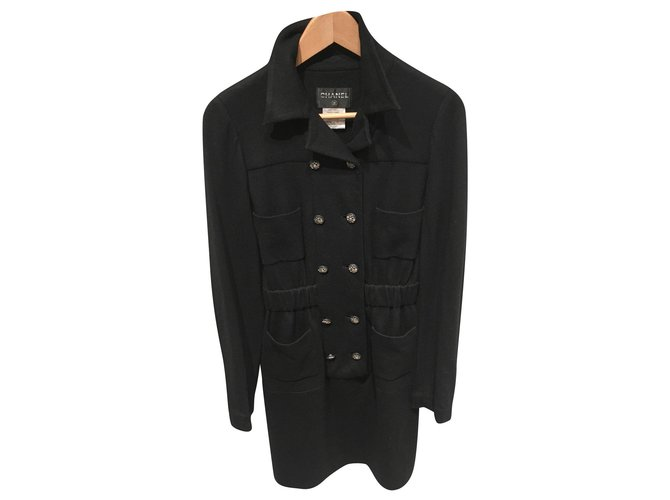 Robes Chanel Robes Laine,Viscose Noir ref.158939