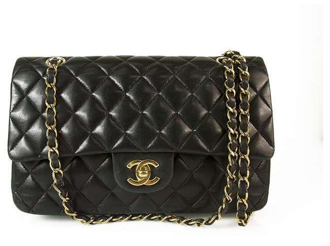 Chanel CHANEL Black Lambskin Leather Classic lined Flap Small Bag Gold hardware Handbags Leather Black ref.159090