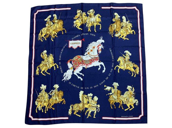 Hermès Carrousel of Hermes Silk scarves Silk Navy blue ref.159143
