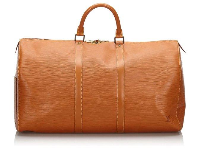 Sacs de voyage Louis Vuitton Louis Vuitton Brown Epi Keepall 50 Cuir Marron ref.159183