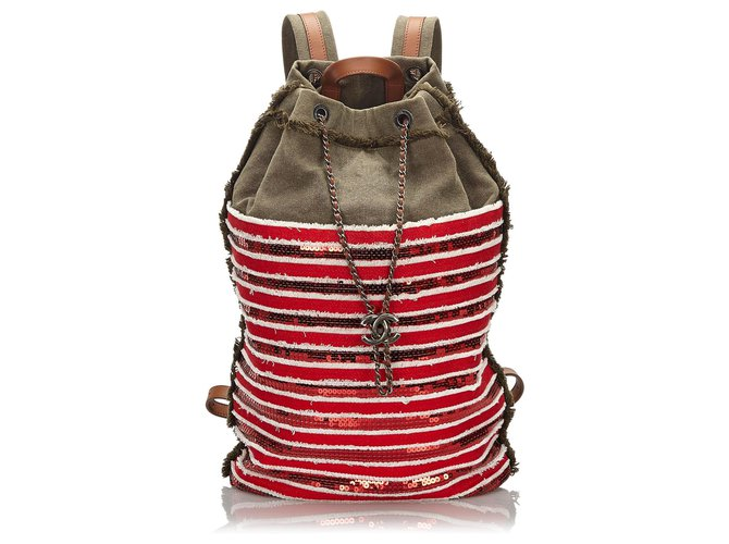 Chanel Chanel Red Canvas Cubano Trip Backpack Backpacks Other,Cloth,Plastic,Cloth Red,Green,Dark green ref.159203