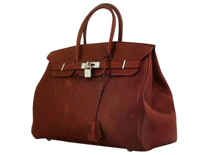 Hermès Birkin Bag 35 BORDEAU color silver finish excellent condition Handbags Exotic leather Dark red ref.159246