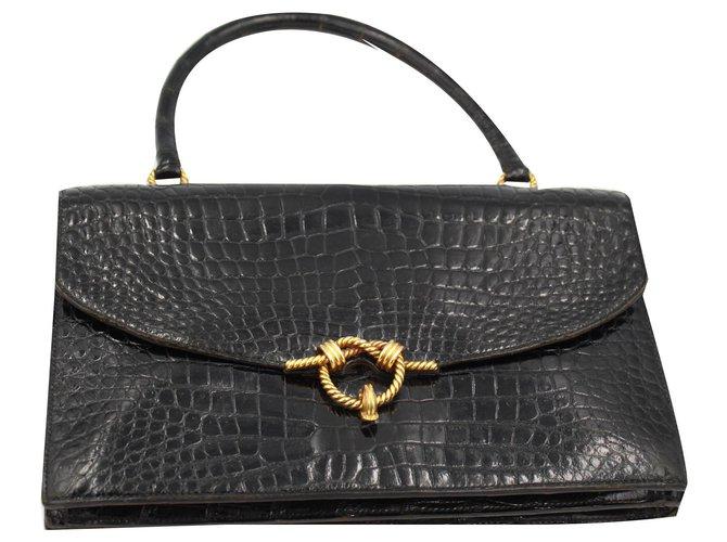 Hermès Handbags Handbags Exotic leather Black ref.159293