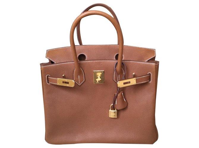 Hermès Birkin 30 Barenia Fauve Handbags Leather Brown ref.159294