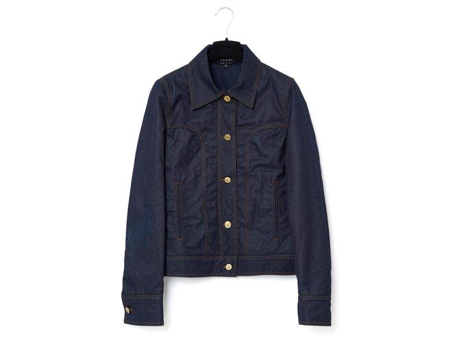 Vestes Gucci DENIM CHIC FR36/38 Coton Bleu Marine ref.159301