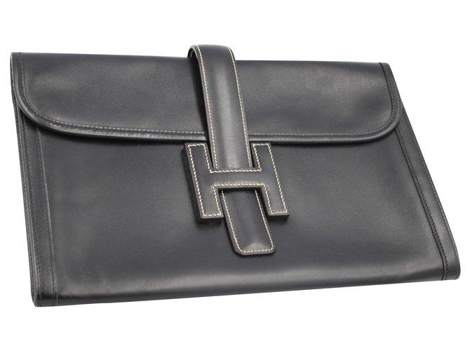 Hermès Jige Handbags Leather Black ref.159330