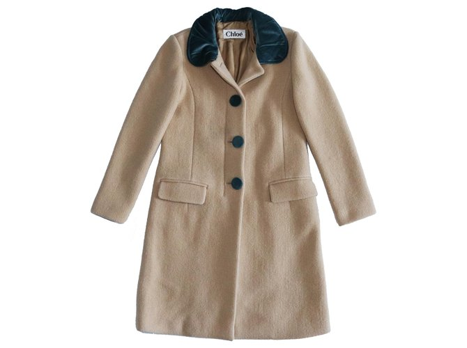 Chloé Coats, Outerwear Coats, Outerwear Wool Brown ref.159586