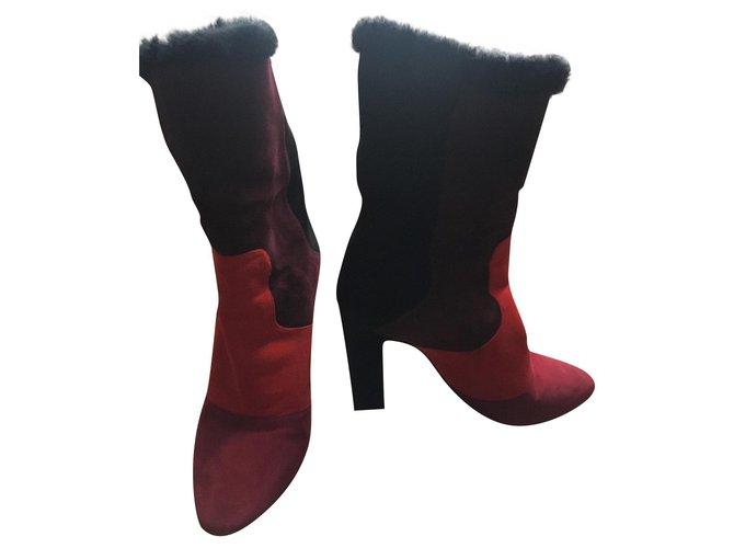 Tamara Mellon Furry boots Dark red Deerskin  ref.159698