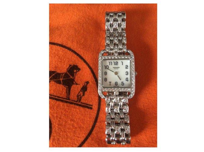 Montres Hermès CAPE COD DIAMANTS HERMES Or blanc Argenté ref.159703