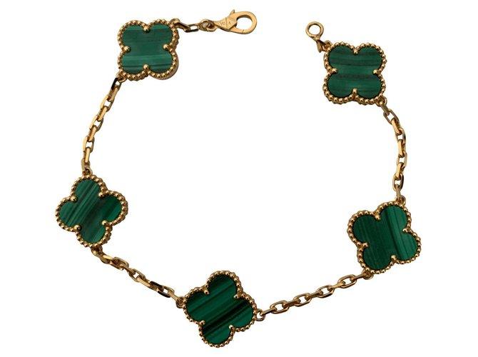 Bracelets Van Cleef & Arpels Van Cleef & Arpels Malachite Alhambra Or jaune,Or Doré,Vert ref.159714