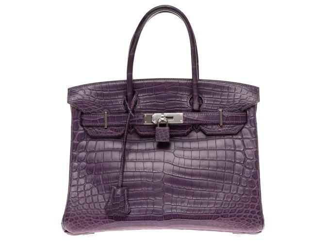 Sacs à main Hermès Exceptionnel Hermès Birkin 30 en Crocodile Niloticus Améthyste mat, garniture en métal palladié en excellent état Cuirs exotiques Violet ref.159721