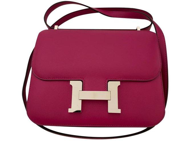 Hermès Hermes Constance 18 rose pourpre Handbags Leather Pink,Purple ref.159723