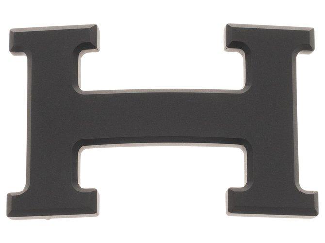 Ceintures homme Hermès Boucle de Ceinture Hermès 5382 en métal plaqué PVD noir mat, état neuf ! Métal Noir ref.159733