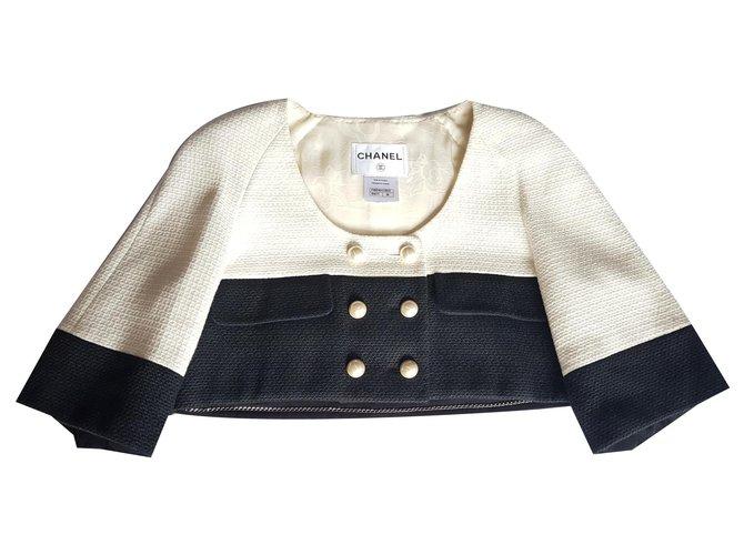 Chanel Jackets Jackets Cotton,Wool,Polyamide Black,White ref.159853