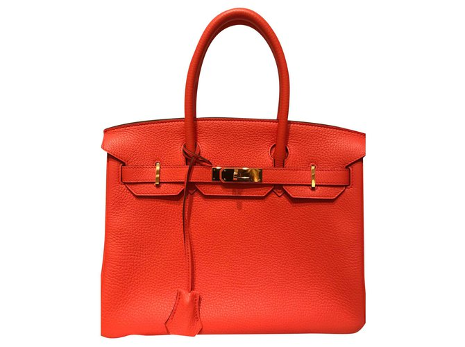 Hermès Birkin Handbags Leather Orange ref.159911