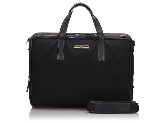 Gucci Gucci Black Nylon Business Bag Misc Leather,Other,Nylon,Cloth Black ref.160007