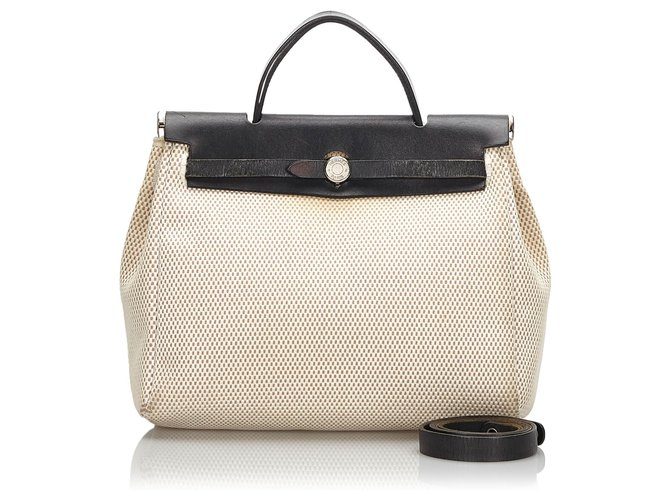 Hermès Hermes White Canvas Herbag PM Handbags Leather,Other,Cloth,Cloth Black,White ref.160059