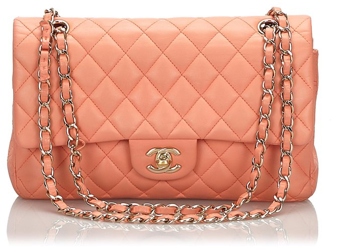Chanel Chanel Orange Classic Medium Lambskin lined Flap Bag Handbags Leather Orange ref.160066