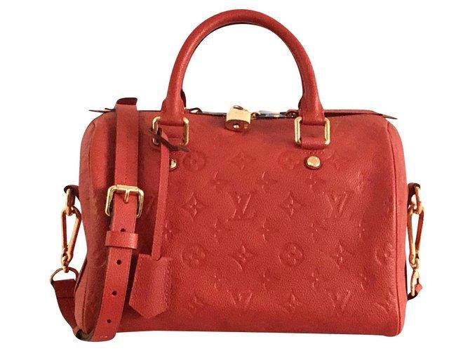 Louis Vuitton Louis Vuitton Speedy 25 Monogram Imprint Handbags Leather Orange ref.160133