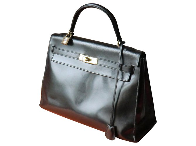 Hermès Hermès Kelly handbag Handbags Leather Black ref.160154