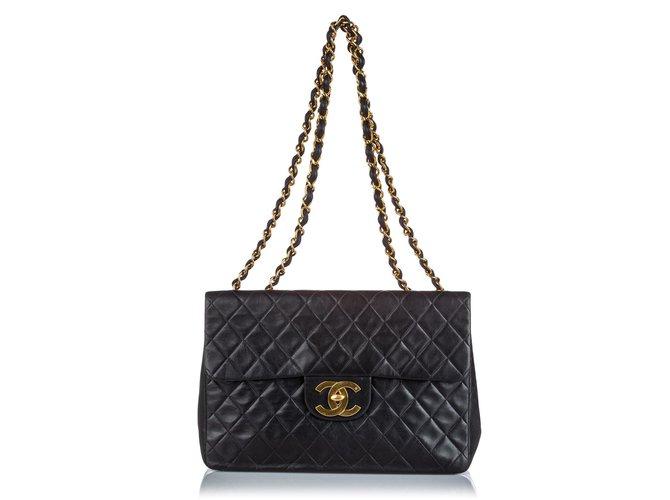 Chanel Chanel Black Classic Maxi Lambskin Single Flap Bag Handbags Leather Black ref.160206