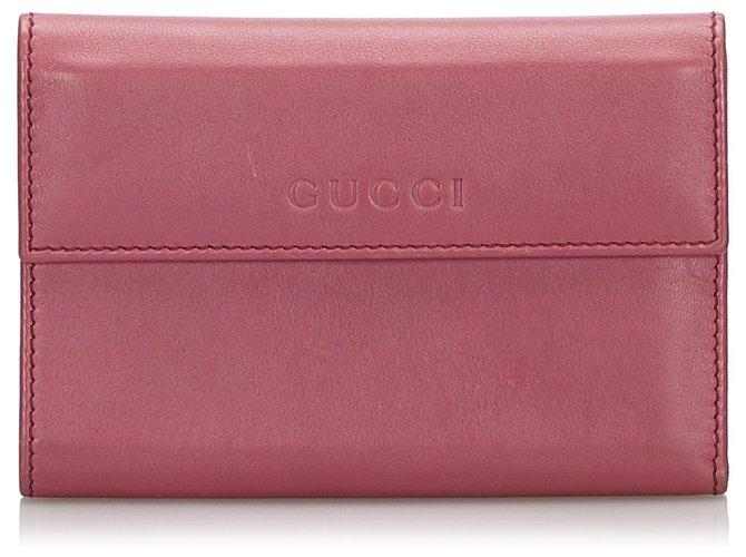 Décoration divers Gucci Portefeuille Gucci en cuir rose Cuir,Autre Rose ref.160242