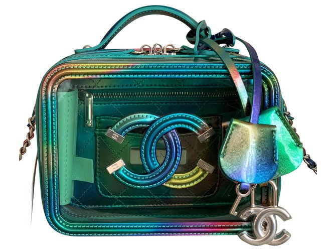 Chanel Small Green PVC Vanity Case with Rainbow Patent Leather Handbags Plastic Green ref.217622