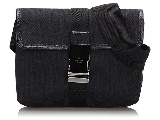 Pochettes Gucci Gucci Black GG Sac de ceinture en toile Cuir,Autre,Toile,Tissu Noir ref.160454