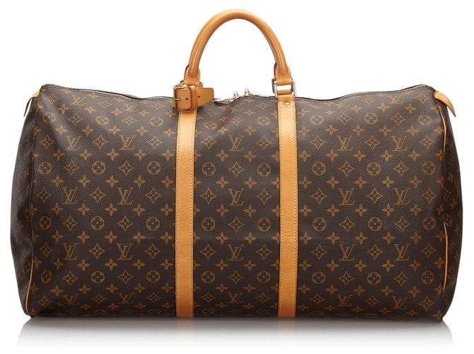 Sacs de voyage Louis Vuitton Louis Vuitton Keepall Monogram Brown 60 Cuir,Toile Marron ref.160478