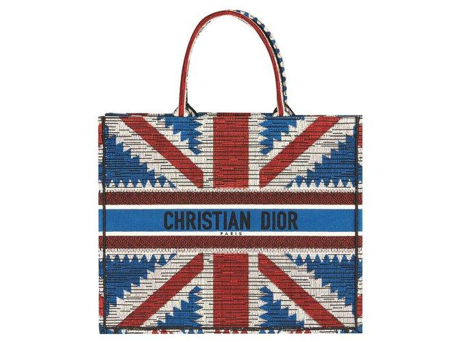Dior DIOR BOOK TOTE BAG UNION JACK FLAG BRAND NEW Handbags Cotton White,Red,Blue ref.160511