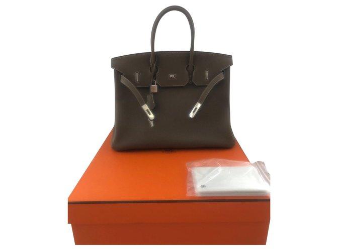 Hermès Birkin 35 Handbags Leather Taupe ref.160583