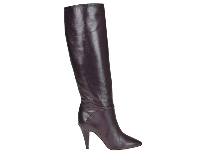 Céline CÉLINE Under the knee leather boots Boots Leather Brown ref.160663